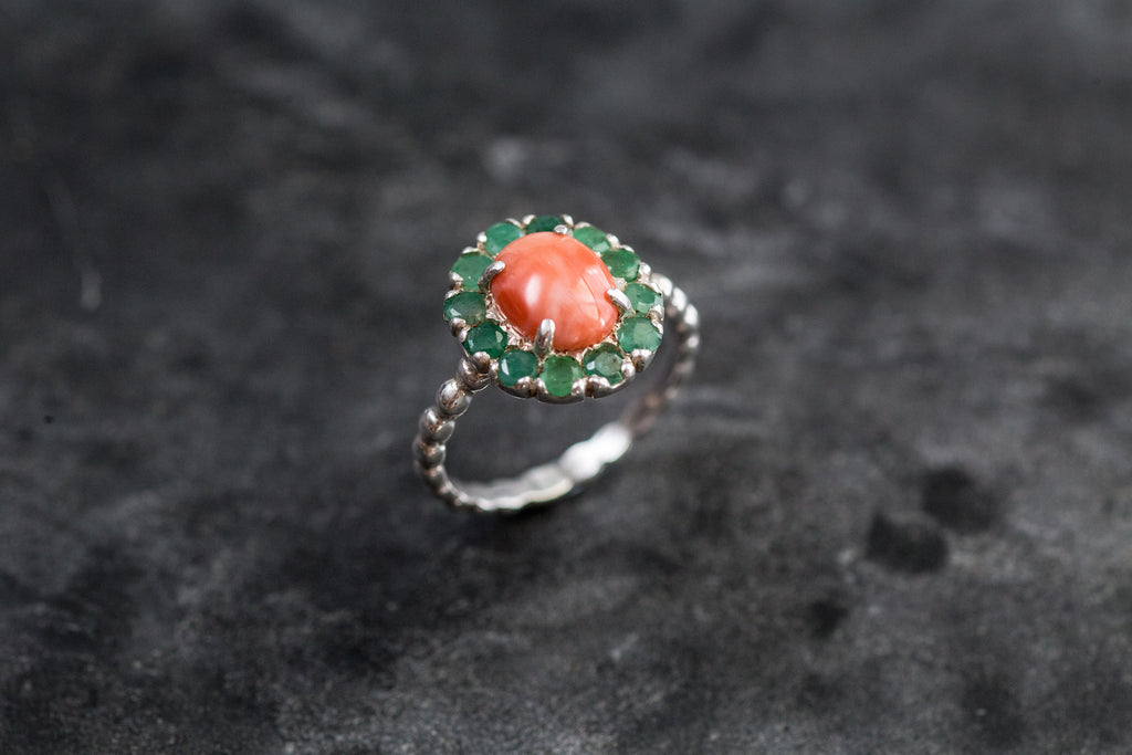 Emerald Ring, Natural Emerald, Coral Ring, Natural Coral, Orange Coral, Peach Coral, March Birthstone, May Birthstone, Solid Silver Ring