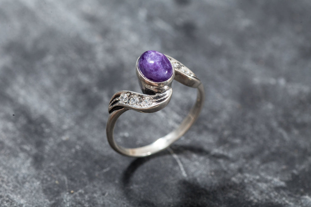 Charoite, Charoite Ring, Vintage Ring, Natural Stone, Antique Ring, Purple Stone Ring, Purple Ring, Natural Charoite, Solid Silver Ring