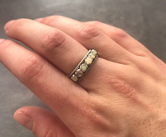 Emerald Band, Natural Emerald, Vintage Band, Emerald Ring, Vintage Rings, May Birthstone, Half Eternity Ring, Solid Silver Ring, Emerald