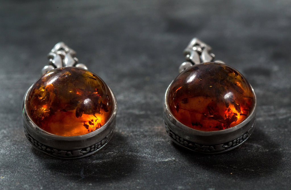Amber Earrings, Natural Amber, Brown Amber Earrings, Natural Brown Amber, Taurus Earrings, Vintage Earrings, Solid Silver Earrings, Amber