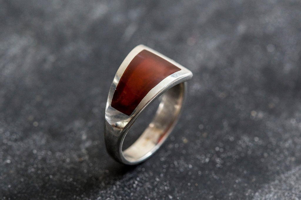 Carnelian Ring, Natural Carnelian, Red Agate Ring, Unique Ring, August Ring, Red Ring, August Birthstone, Silver Ring, Red Agate, Carnelian