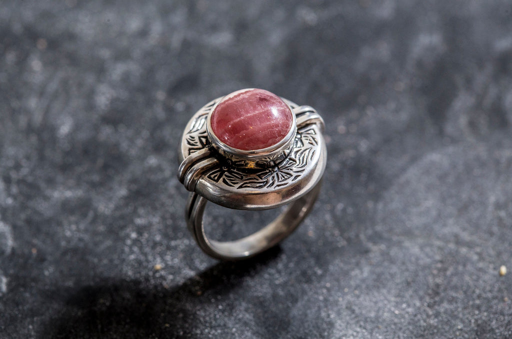 Rhodochrosite Ring, Natural Rhodochrosite, Egyptian Ring, February Ring, Pink Ring, February Birthstone, Solid Silver Ring, Rhodochrosite