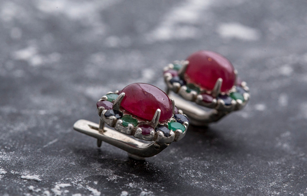 Ruby Earrings, Natural Ruby, Vintage Ruby Earrings, Real Ruby, July Birthstone, Birthstone Earrings, Silver Ruby Earrings, Vintage Earrings