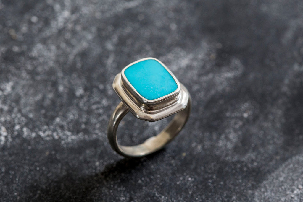Turquoise Ring, Natural Turquoise, Sleeping Beauty, Sleeping Beauty Ring, December Birthstone, Real Turquoise, Solid Silver Ring, Turquoise