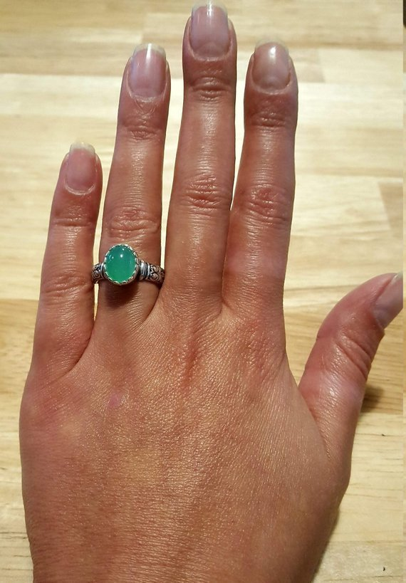 Larimar Ring, March Birthstone, Natural Larimar, Vintage Ring, March Ring, Jewel of Atlantis, Solid Silver Ring, Healing Stones, Pure Silver