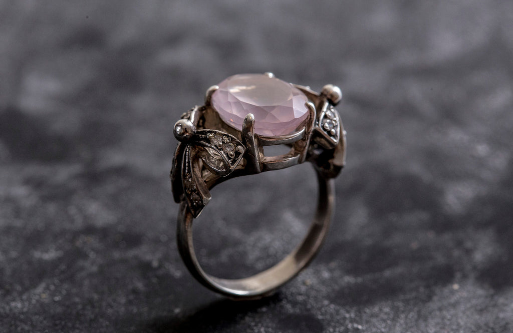 Rose Quartz Ring, January Birthstone, Ribbon Ring, Pink Diamond, Love Ring, Pink Ring, January Ring, Solid Silver Ring, Pure Silver