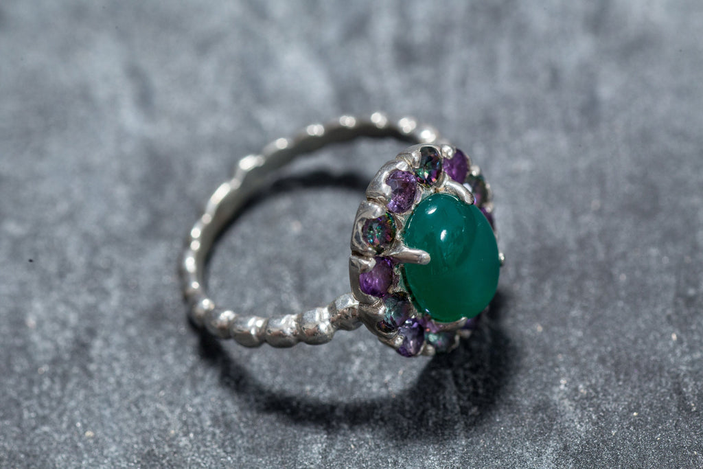 Vintage Ring, Emerald Ring, Created Emerald, Natural Amethyst, Mystic Topaz, Vintage Amethyst, Victorian Ring, Antique Ring, Solid Silver
