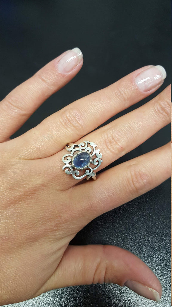 Tourmaline Ring, Blue Tourmaline Ring, October Birthstone, Vintage Rings, Artistic Ring, Blue Tourmaline, Solid Silver Ring, Tourmaline