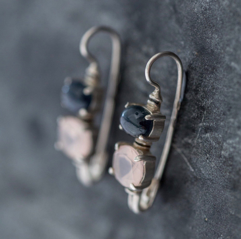 DV Jewels rose earrings and quartz earrings