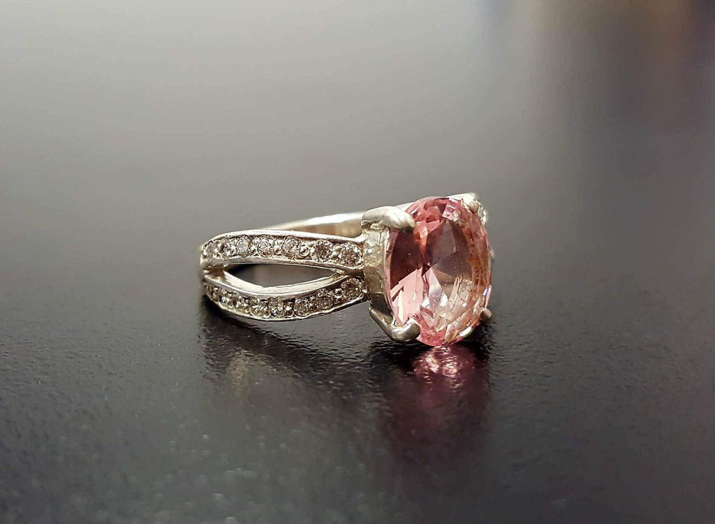 Unique Stone Ring, Morganite Ring, Created Morganite, Pink Promise Ring, Pink Vintage Ring, 925 Silver Ring, Pink Morganite Ring, Morganite