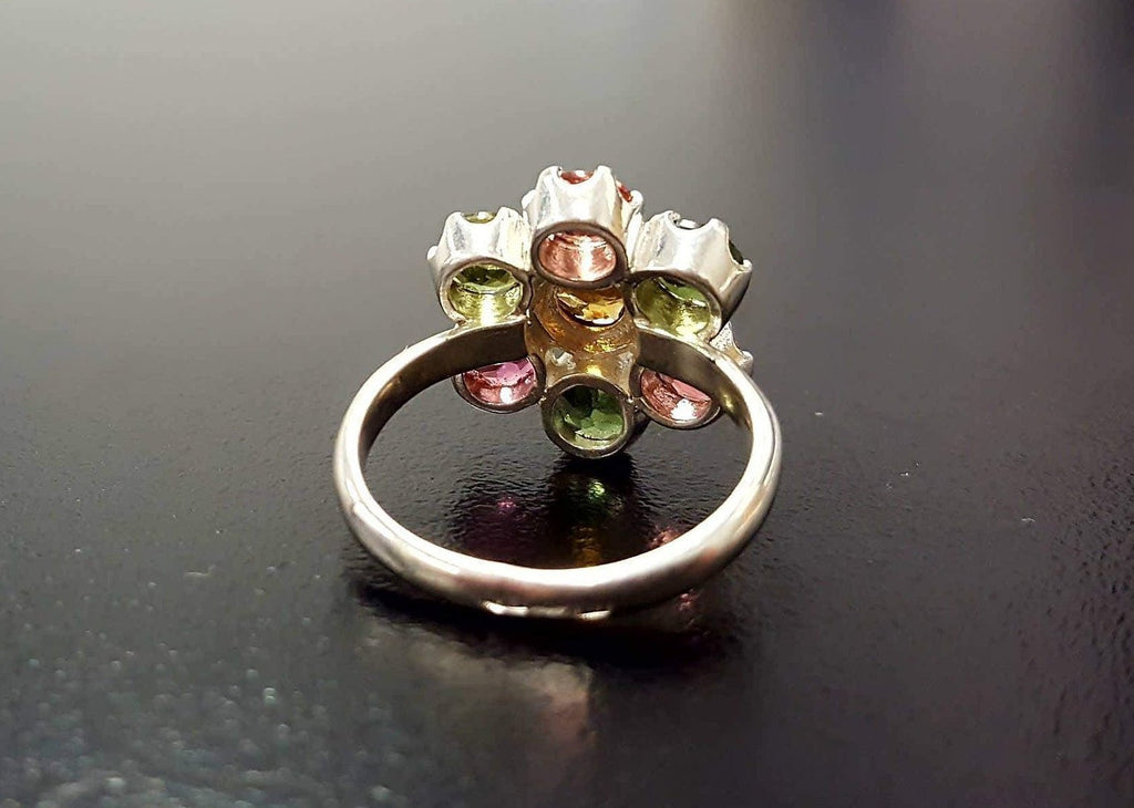 Tourmaline Ring, Natural Tourmaline, October Ring, Flower Ring, Multicolor Ring, October Birthstone, Flower Vintage Ring, 925 Silver Ring