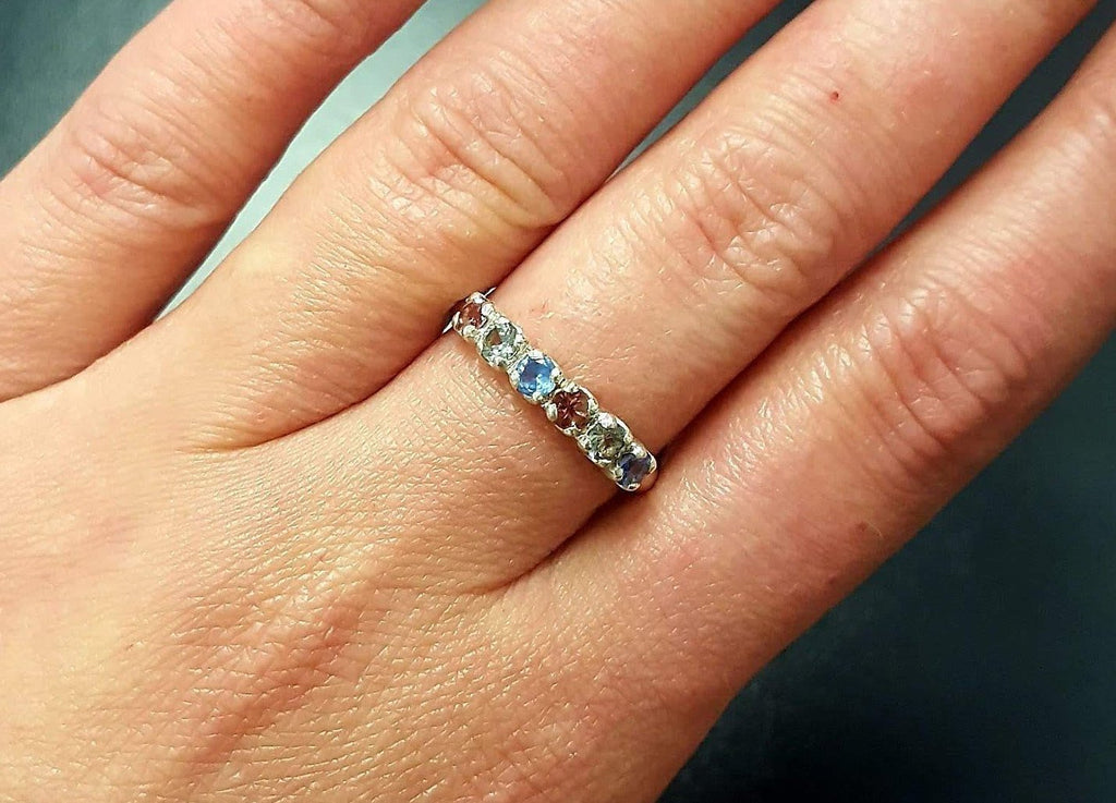 Tourmaline Ring, Natural Tourmaline, October Ring, Half Eternity Band, Multistone Ring, October Birthstone, Solid Silver Ring, Tourmaline