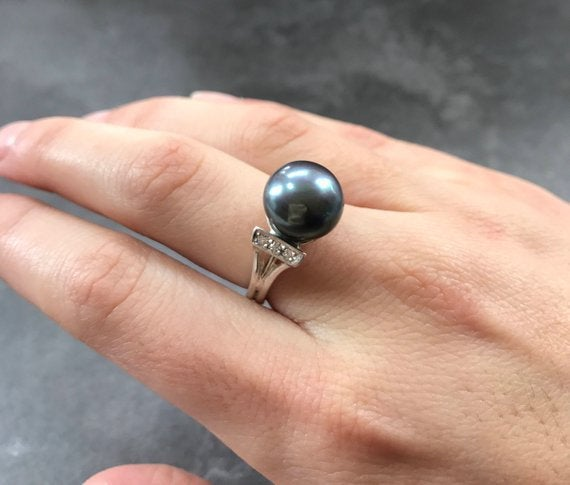 Pearl Ring, White Pearl Ring, Natural Pearl, June Birthstone, White Pearl, Real Pearl, Vintage Rings, White Ring, Solid Silver Ring, Pearl