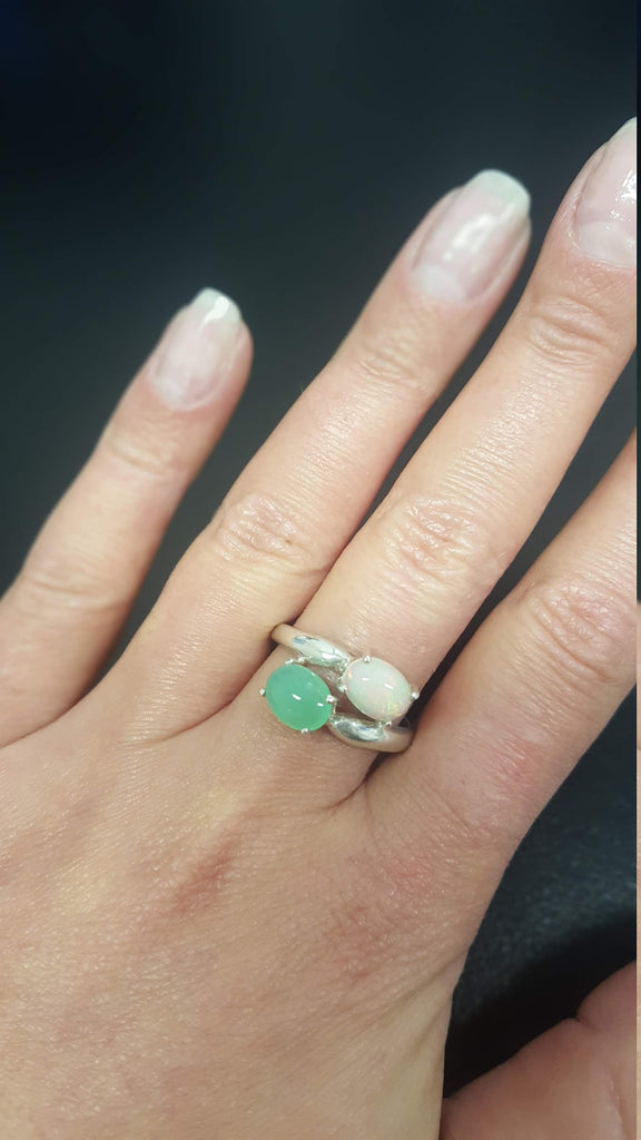 Opal Ring, Natural Opal, Vintage Rings, Australian Opal Ring, Emerald Ring, Created Emerald, October Birthstone, Solid Silver Ring, Opal