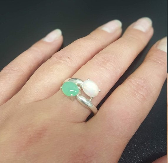 Opal Ring, Chrysoprase Ring, Natural Stones, Australian Stones, 2 Stone Ring, October Birthstone, May Birthstone, Solid Silver Ring, Opal