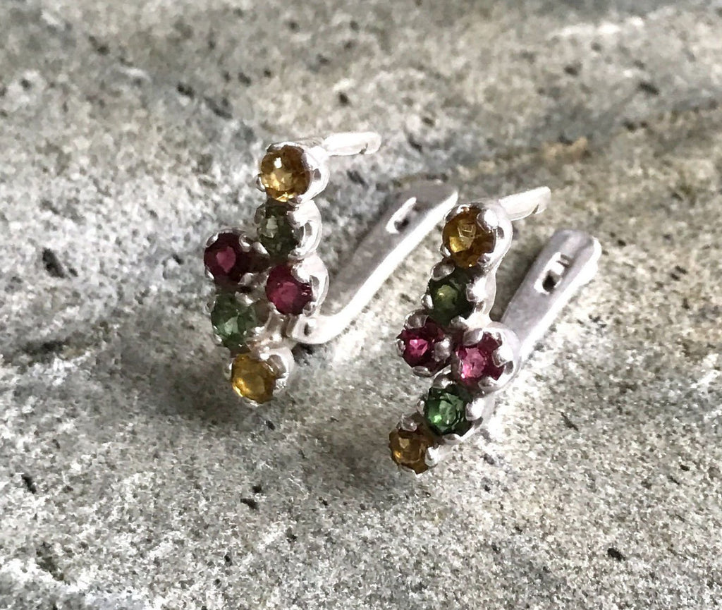Tourmaline Earrings, Healing Stones, October Birthstone, Vintage Earrings, Mothers Birthstones, Natural Tourmaline, Solid Silver, Tourmaline