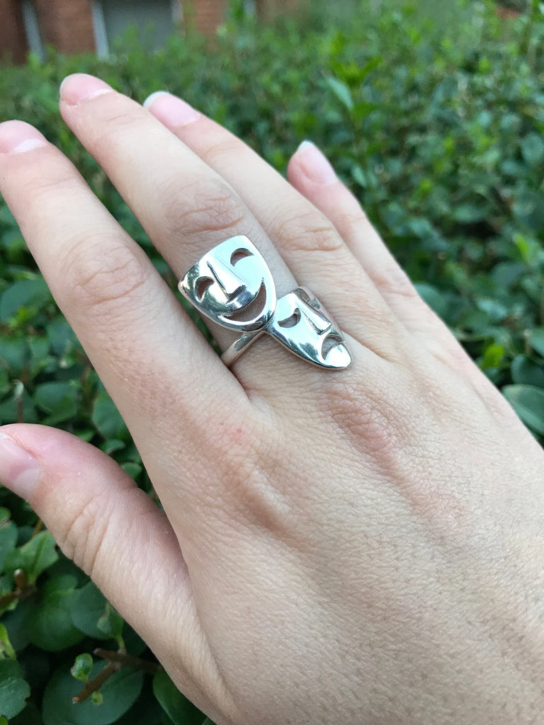 Face Ring, Solid Silver Ring, Theatre Ring, Statement Ring, Unique Silver Ring, Interesting Ring, Mask Ring, Sterling Silver Ring, Faces