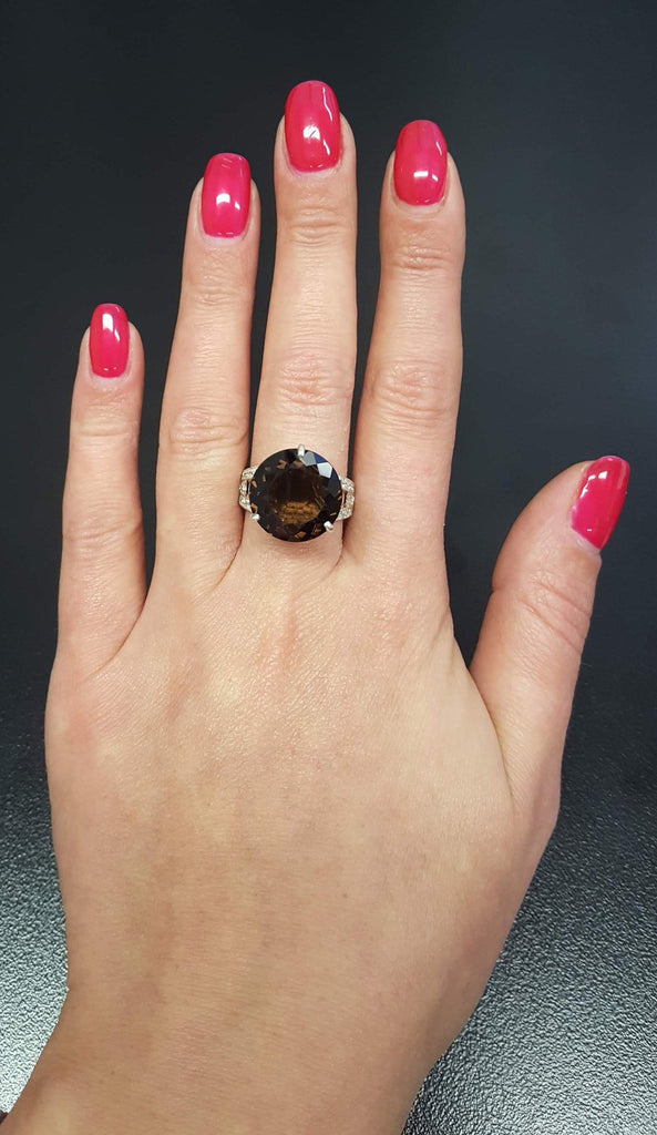 Smoky Topaz Ring, Natural Topaz, Big Stone Ring, Promise Ring, Solid Silver Ring, Diamond Cut, Sterling Silver Ring, Natural Stone, Topaz