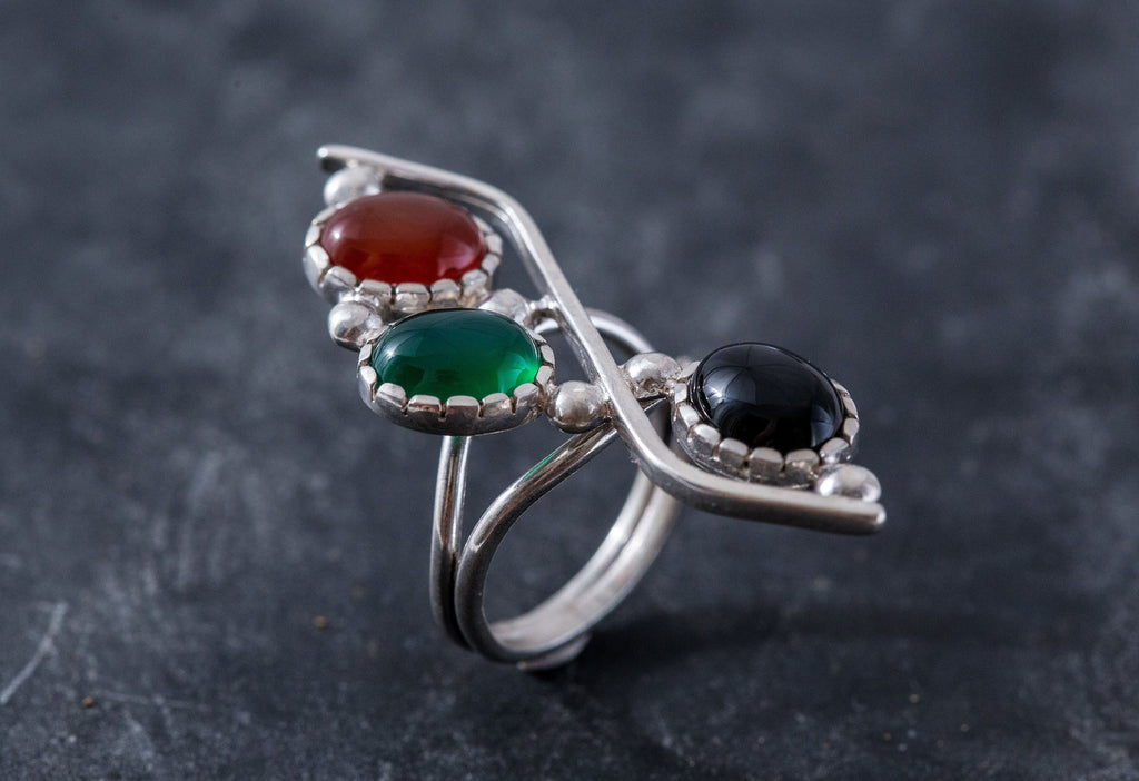Multistone Ring, Carnelian Ring, Onyx Ring, Created Emerald Ring, 3 Stone Ring, August Ring, Silver Ring, August Birthstone, Unique Ring
