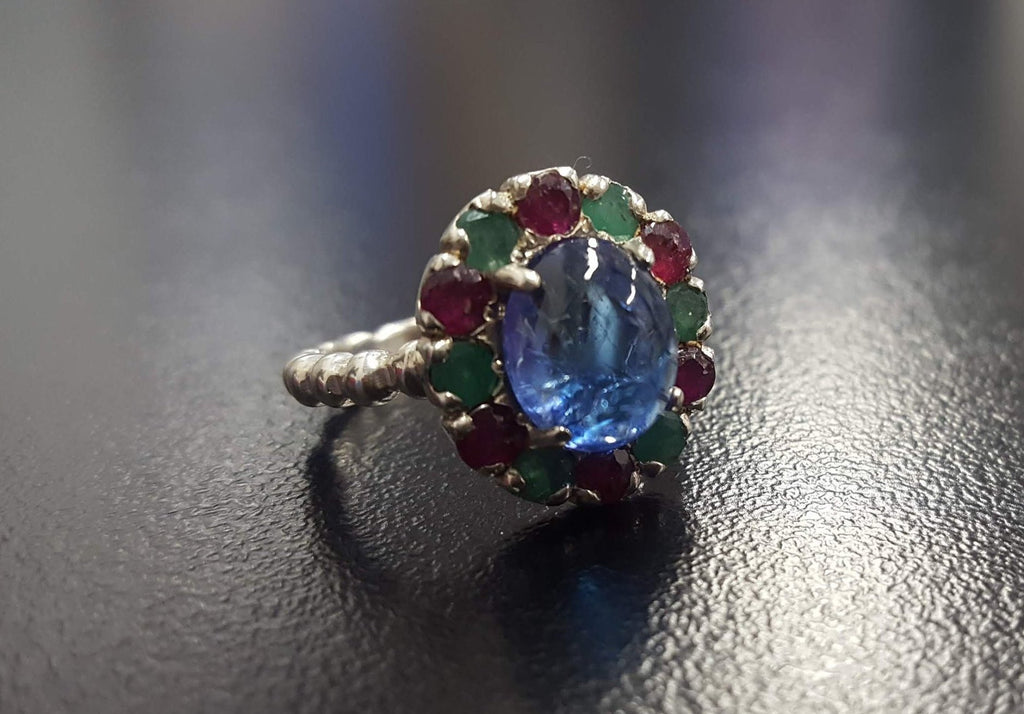 Tanzanite Ring, Natural Tanzanite, Ruby Ring, Emerald Ring, Victorian Ring, Unique Stone Ring, December Birthstone, Silver Ring, Tanzanite