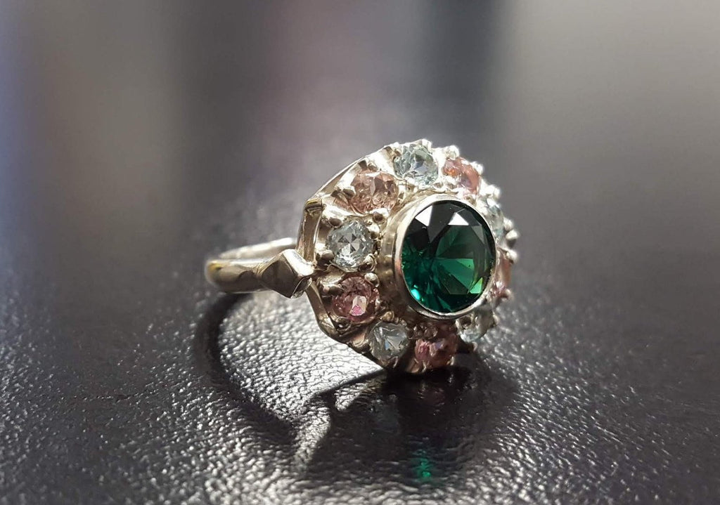Emerald Ring, Created Emerald, Blue Topaz Ring, Amethyst Ring, Victorian Ring, Green Ring, December Ring, February Ring, Solid Silver Ring