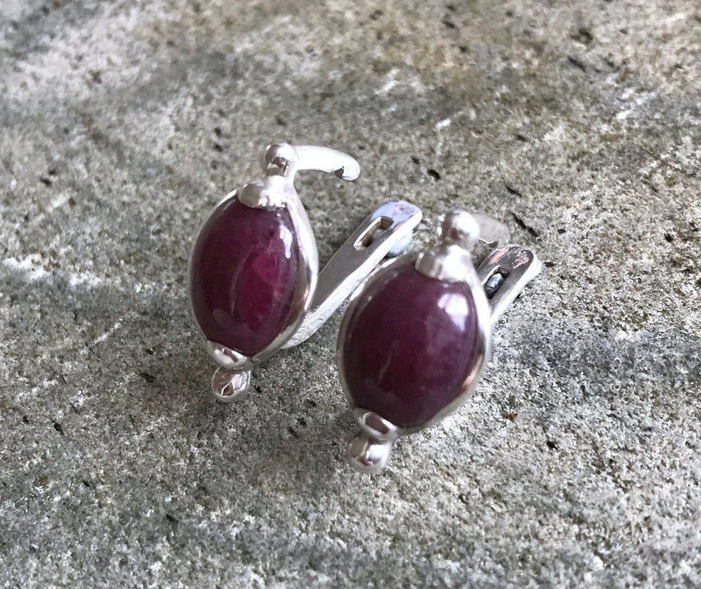 Ruby Earrings, July Birthstone, Natural Ruby, Large Ruby Earrings, Solid Ruby, Vintage Earrings, Real Ruby, Solid Silver, Red Ruby Earrings