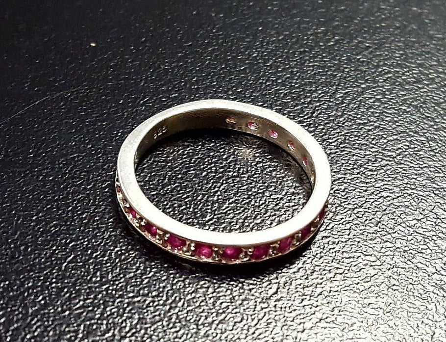 Natural Ruby Ring, Ruby Ring, Red Ruby Ring, Full Eternity Ring, July Ring, Ruby Eternity Band, Red Ruby Band, Red Vintage Band, Silver Band