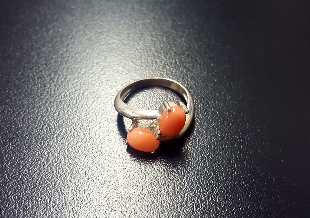 Coral Ring, Natural Coral, Vintage Ring, March Birthstone, Vintage Coral Ring, March Ring, Two Stone Ring, Angel Skin, Silver Ring, Coral