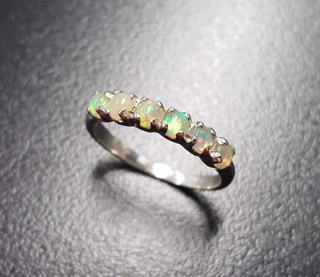 Opal Band, Ethiopian Opal Band, Natural Opal Ring, Half Eternity Band, October Ring, Fire Opal Ring, Opal Vintage Ring, Silver Vintage Ring