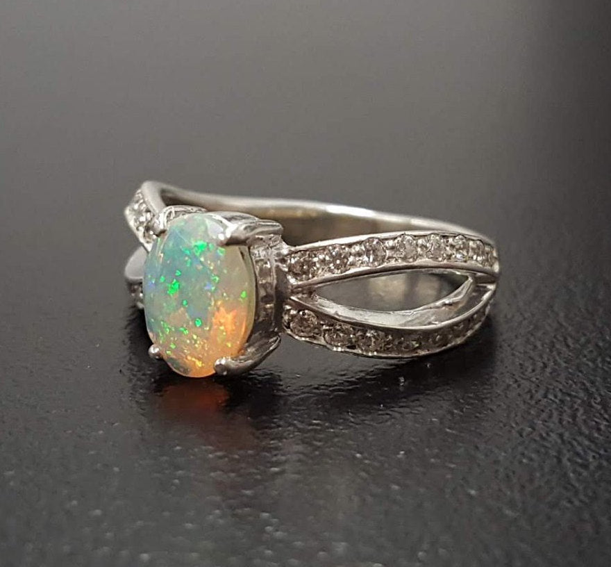 Opal Ring, Natural Opal Ring, Opal Engagement Ring, Ethiopian Opal, Natural Opal, Unique Opal Ring, Vintage Rings, Antique Opal, Fire Opal