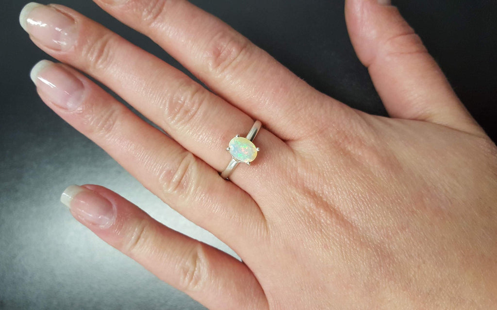 Ethiopian Opal Ring, Opal Ring, Natural Opal, October Birthstone, Promise Ring, Fire Opal Ring, Opal Vintage Ring, October Ring, Silver Ring