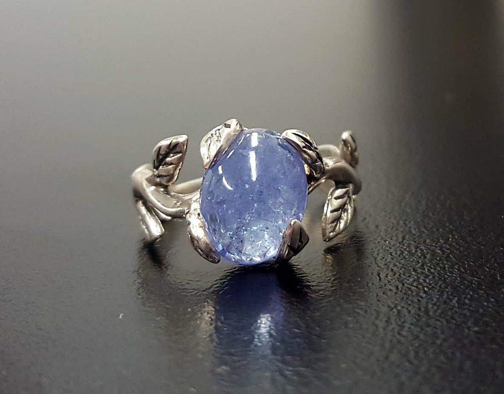 Tanzanite Ring, Natural Tanzanite, December Birthstone, Silver Leaf Ring, Blue Flower Ring, Dainty Ring, Blue Vintage Ring, 925 Silver Ring