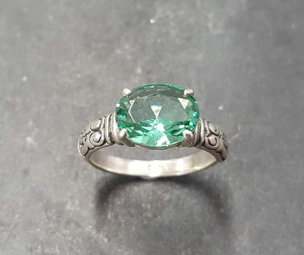Green Diamond Ring Mint Green Ring Mint Emerald Ring Tribal Ring Emerald Ring Green Vintage Ring Solid Silver Ring Created Emerald