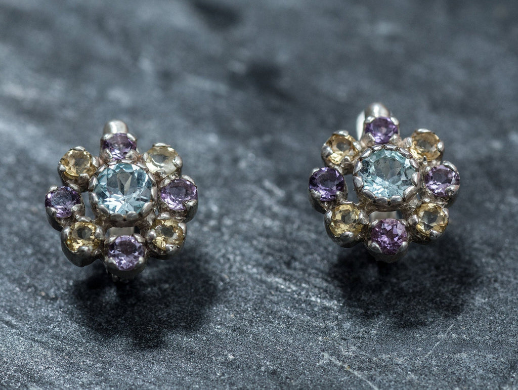 Flower Earrings, Blue Topaz Earrings, Natural Topaz, Vintage Earrings, Amethyst Earrings, Citrine Earrings, Birthstone Earrings, Pure Silver