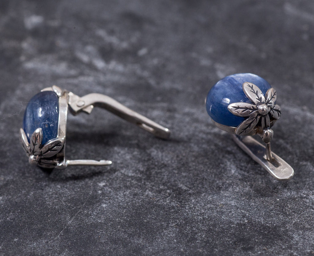 Leaf Earrings, Kyanite Earrings, Natural Kyanite, Flower Earrings, Blue Flower Earrings, Blue Earrings, Healing Stone, Solid Silver, Kyanite