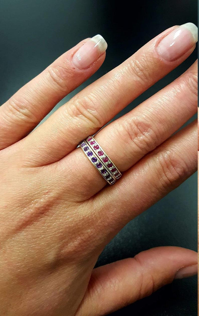 Garnet Ring, Eternity Band, Natural Garnet, January Ring, Eternity Ring, Garnet Band, January Birthstone, Vintage Ring, Vintage Silver Band