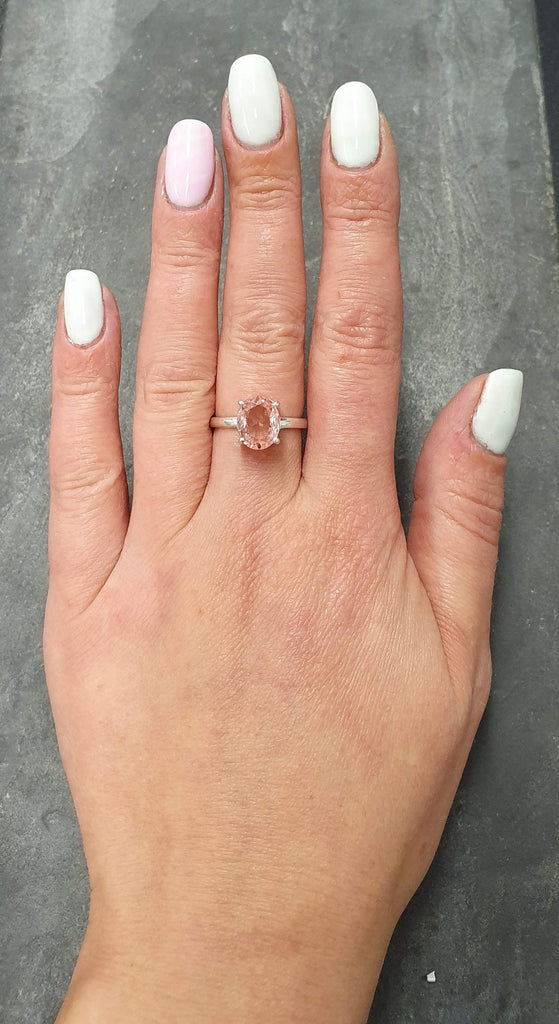 Morganite Ring, Created Morganite, Solitaire Ring, Vintage Ring, Cotton Candy Ring, Pink Diamond Ring, Unique Stone Ring, Solid Silver Ring