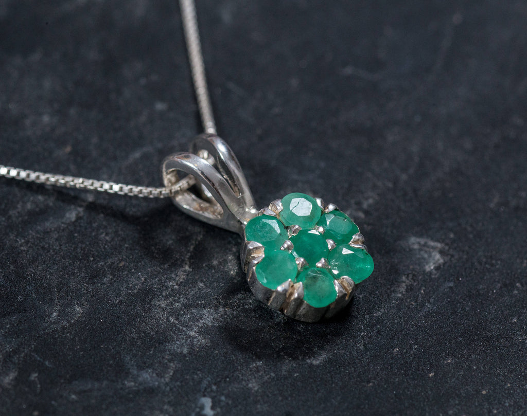 Emerald Pendant, Natural Pendant, Flower Pendant, May Birthstone, Genuine Emerald, Real Emerald Pendant, Pendant and Chain, Silver Pendant