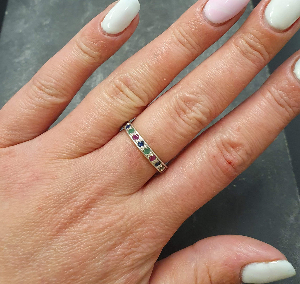 Eternity Ring, Ruby Band, Emerald Band, Sapphire Band, Birthstone Ring, Stackable Ring, Multistone Ring, Full Eternity Band, 925 Silver Ring