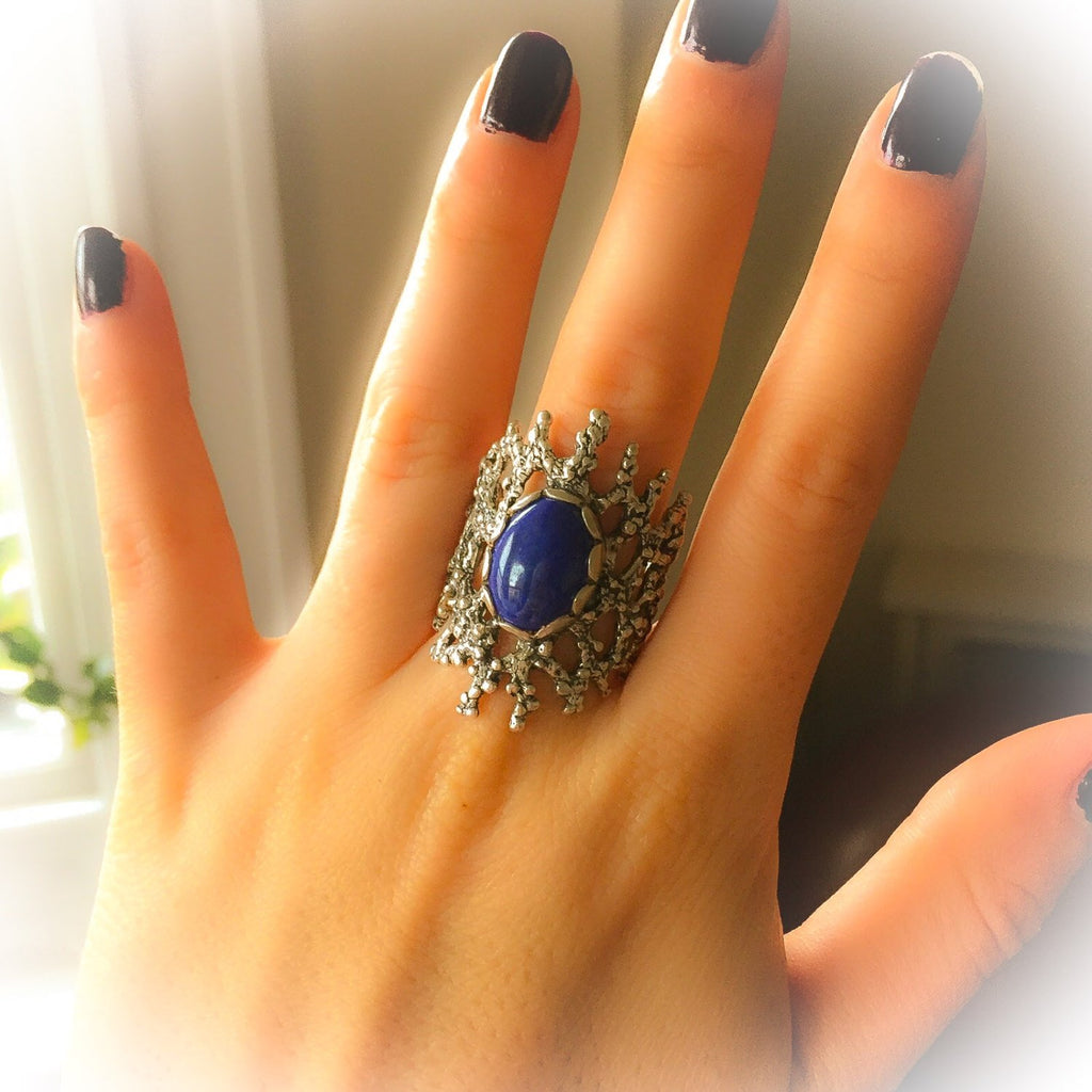 Lapis Ring, Blue Stone Ring, Games of Thrones Ring, December Birthstone, Birthstone Ring, Medieval Ring, Solid Silver Ring