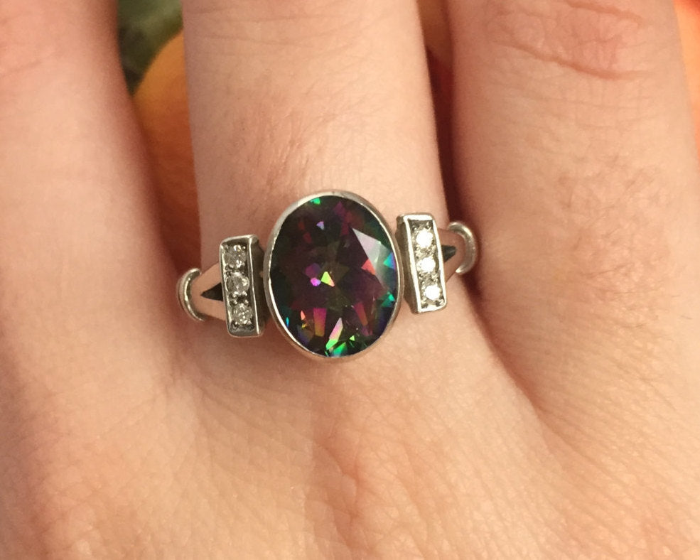 Mystic Topaz Ring, Topaz Ring, Natural Topaz, 925 Silver Ring, Solid Silver Ring, Vintage Rings, Vintage Topaz Ring