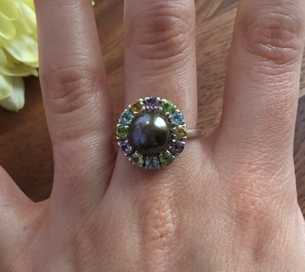 Black Pearl Ring, Birthstone Ring, Genuine Pearl, Topaz Ring, June Birthstone Ring, Amethyst, Citrine, Peridot, Blue Topaz