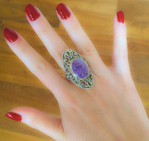 Charoite Ring, Natural Charoite, Vintage Silver Ring, Purple Ring, Large Victorian Ring, Vintage Rings, Antique Ring, Solid Silver, Charoite