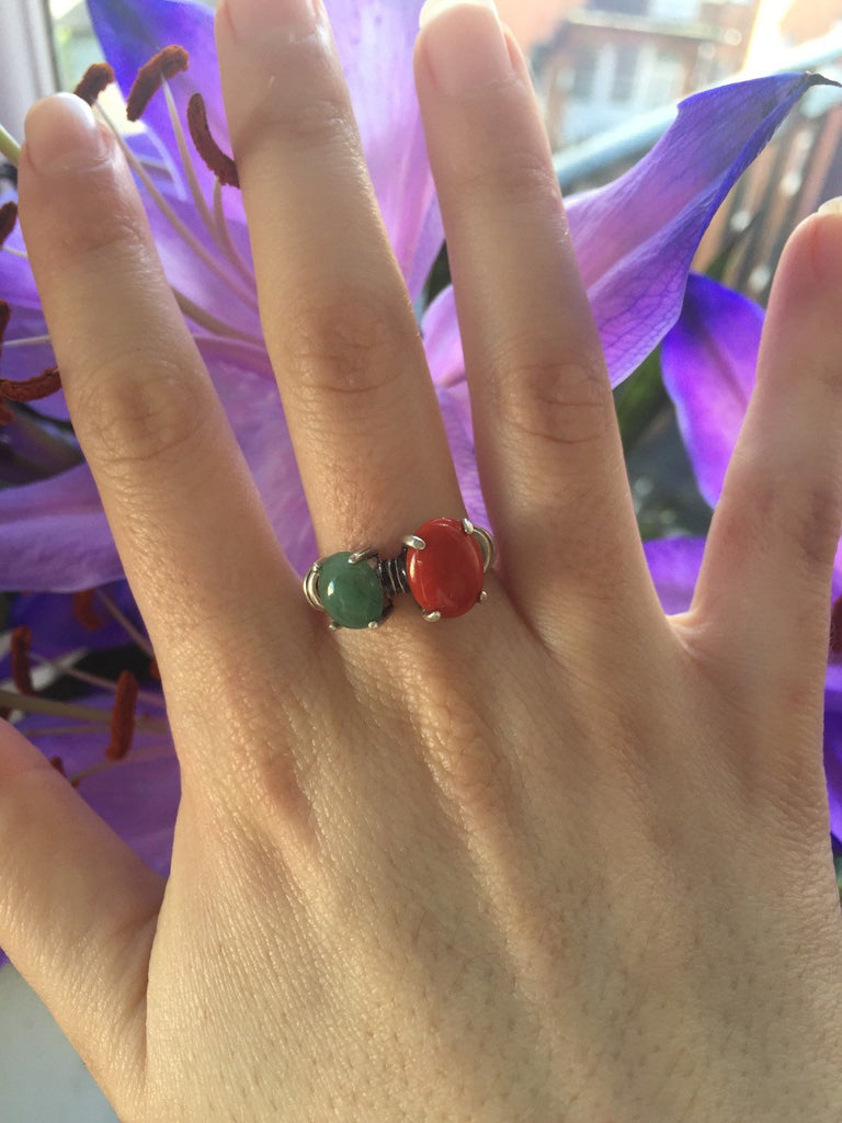 Vintage Emerald Ring, Genuine Emerald Ring, Genuine Coral Ring, Genuine Red Coral, Birthstone Ring, May Birthstone Ring, Antique Ring