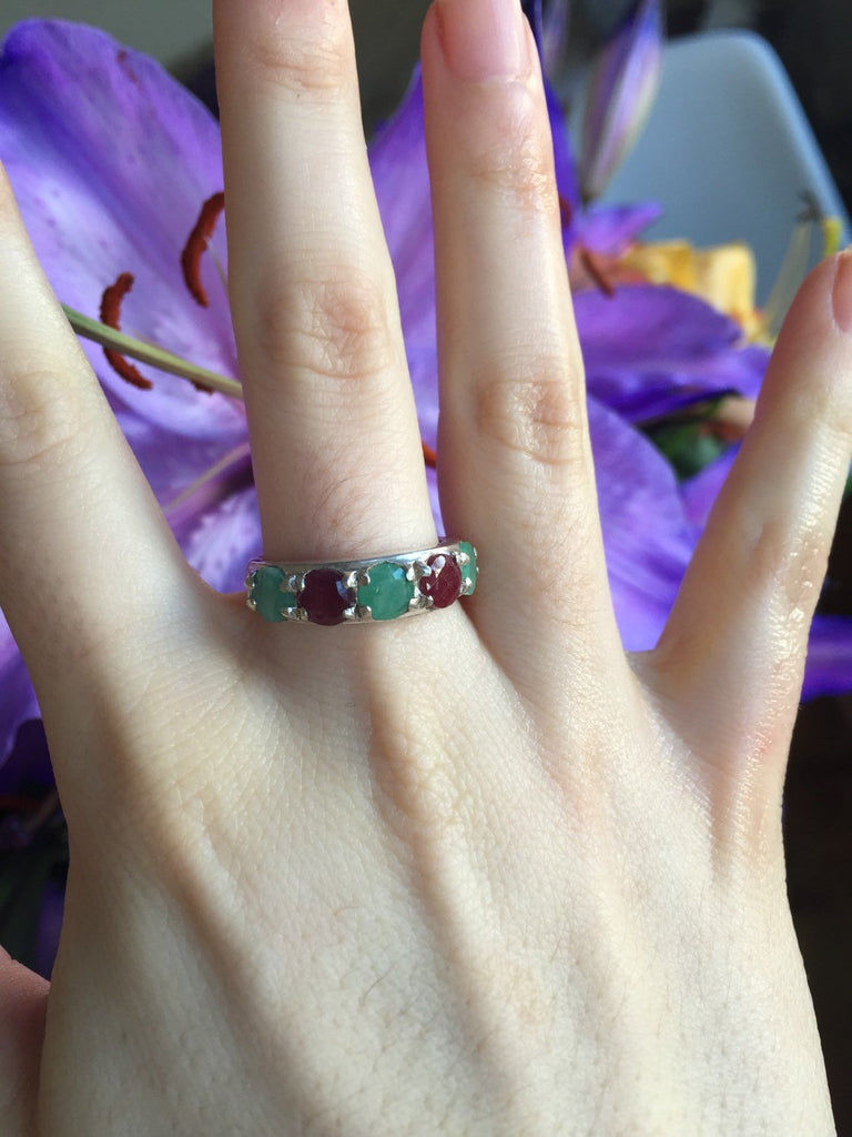 Multistone Ring, Emerald Ring, Ruby Ring, Natural Emerald, Natural Ruby, Vintage Ring, May Ring, July Ring, Solid Silver Ring, Ruby, Emerald
