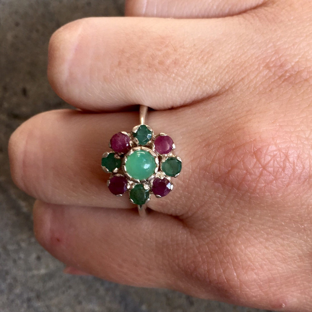 Genuine Emerald ring, Genuine Ruby Ring, Chrysoprase Ring, Promise Ring, Birthstone Ring, May Birthstone, July Birthstone, Flower Ring