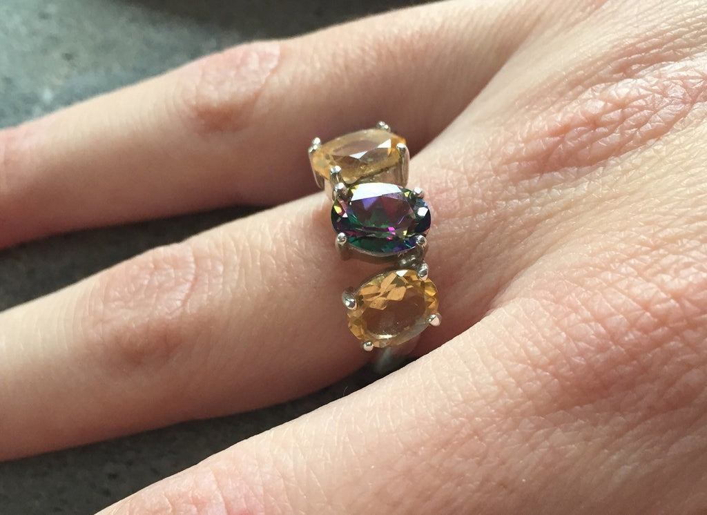 Citrine Ring, Natural Citrine, Topaz Ring, Mystic Topaz Ring, Natural Topaz, Diamond Cut, Birthstone Ring, Solid Silver Ring