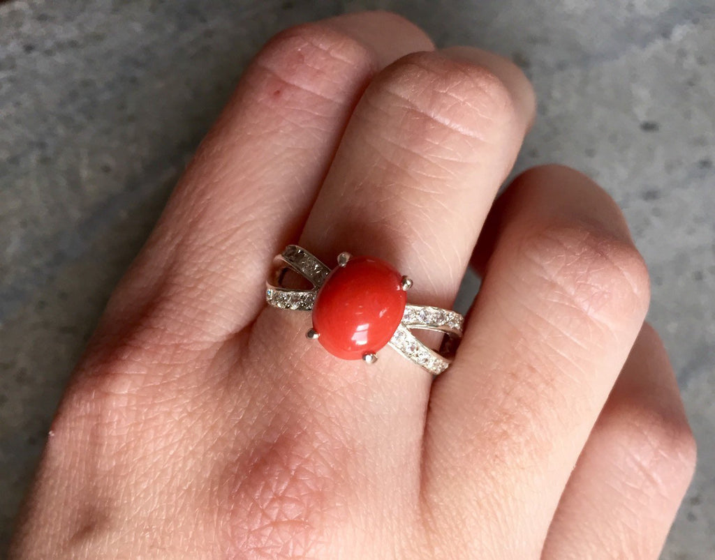 Coral Ring, Promise Ring, March Birthstone, Red Coral Ring, Natural Coral, Anniversary Ring, Double Band, Solid Silver Ring, Pure Silver