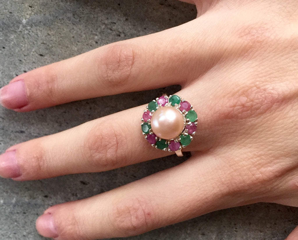 Vintage Pearl Ring, Pearl Ring, Emerald Ring, Vintage Rings, Birthstone Ring, Ruby Ring, Vintage Emerald Ring, Cream Pearl, Vintage Ruby