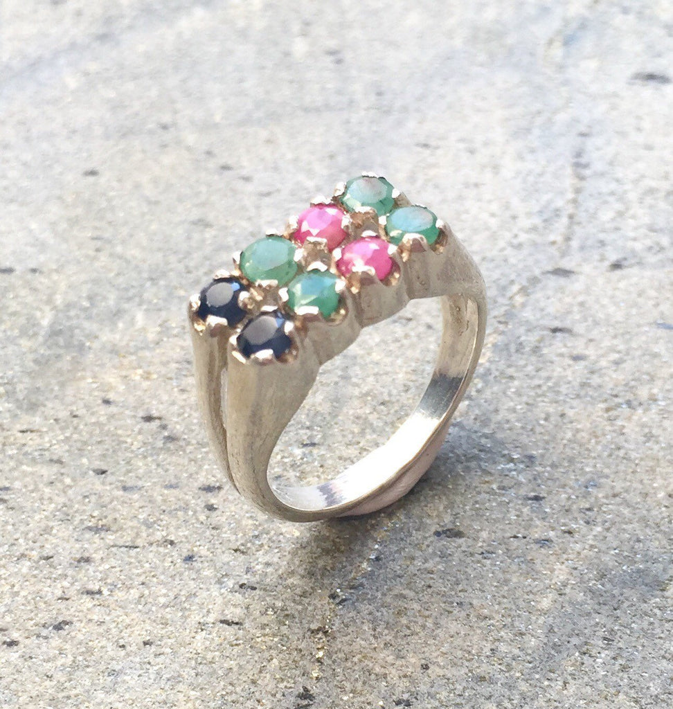 Emerald Ring, Natural Emerald, Sapphire Ring, Natural Sapphire, Ruby Ring, Natural Ruby, Vintage Rings, Solid Silver Ring, Healing Stones